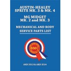 Austin-Healey Sprite Mk. 3 and Mk. 4 and MG Midget Mk. 2 and Mk. 3 Mechanical and Body Service Parts List. AKD3513 & AKD3514